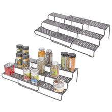 Load image into Gallery viewer, Products mdesign adjustable expandable kitchen wire metal storage cabinet cupboard food pantry shelf organizer spice bottle rack holder 3 level storage up to 25 wide 2 pack graphite gray