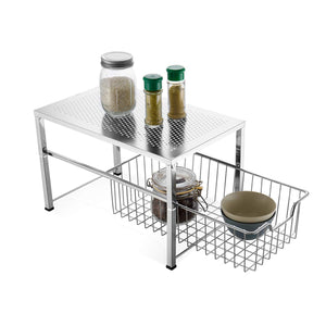 Bextsware Cabinet Basket Organizer with Wire Grid Sliding Drawer, Multi-Function Stackable Mesh Storage Organizer for Kitchen Counter, Desktop, Under Sink(Silver)