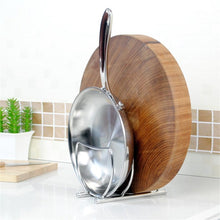 Load image into Gallery viewer, Try zh stainless seel kitchen saucepan pot pan lid storage rack holder cutting board rack drain rack versatile cupboard organizers