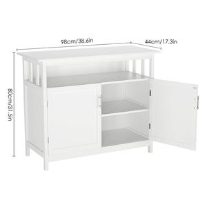 Shop here homfa kitchen sideboard storage cabinet large dining buffet server cupboard cabinet console table with display shelf and double doors white