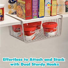 Load image into Gallery viewer, The best 4pcs 15 8 under shelf basket storage wire rack organizer for cabinet thickness max 1 2 inch extra storage space on kitchen counter pantry desk bookshelf cupboard anti rust stainless steel rack