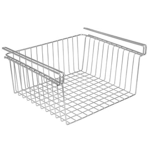 Home mdesign household metal under shelf hanging storage organizer bin basket for organizing kitchen pantry cabinets cupboards shelves multipurpose vintage modern farmhouse grid style large chrome