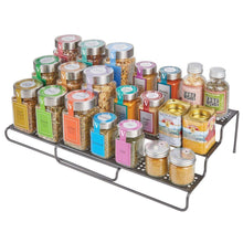 Load image into Gallery viewer, Related mdesign adjustable expandable kitchen wire metal storage cabinet cupboard food pantry shelf organizer spice bottle rack holder 3 level storage up to 25 wide 2 pack graphite gray