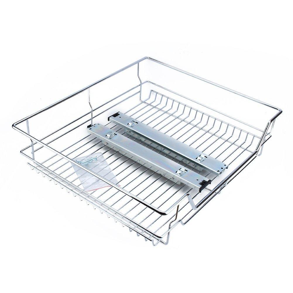 Explore gototop kitchen sliding cabinet organizer pull out chrome wire storage basket drawer for kitchen cabinets cupboards 20 3 17 35 3