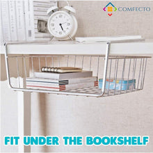 Load image into Gallery viewer, Storage organizer 4pcs 15 8 under shelf basket storage wire rack organizer for cabinet thickness max 1 2 inch extra storage space on kitchen counter pantry desk bookshelf cupboard anti rust stainless steel rack