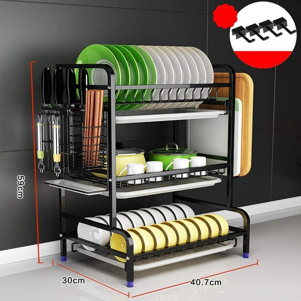 Black Dish Drying Rack/Dish Rack for Storage Bowls, Saucers, Cutlery, Cookware, Chopping Boards (color : Black, Size : 3 tier)