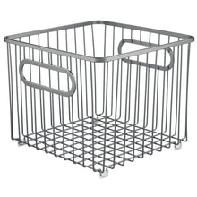 Load image into Gallery viewer, Heavy duty mdesign metal farmhouse kitchen pantry food storage organizer basket bin wire grid design for cabinet cupboard shelf countertop holds potatoes onions fruit square 2 pack graphite gray