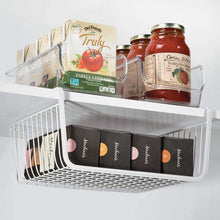 Load image into Gallery viewer, Shop here mdesign household metal under shelf hanging storage bin basket with open front for organizing kitchen cabinets cupboards pantries shelves large 2 pack white