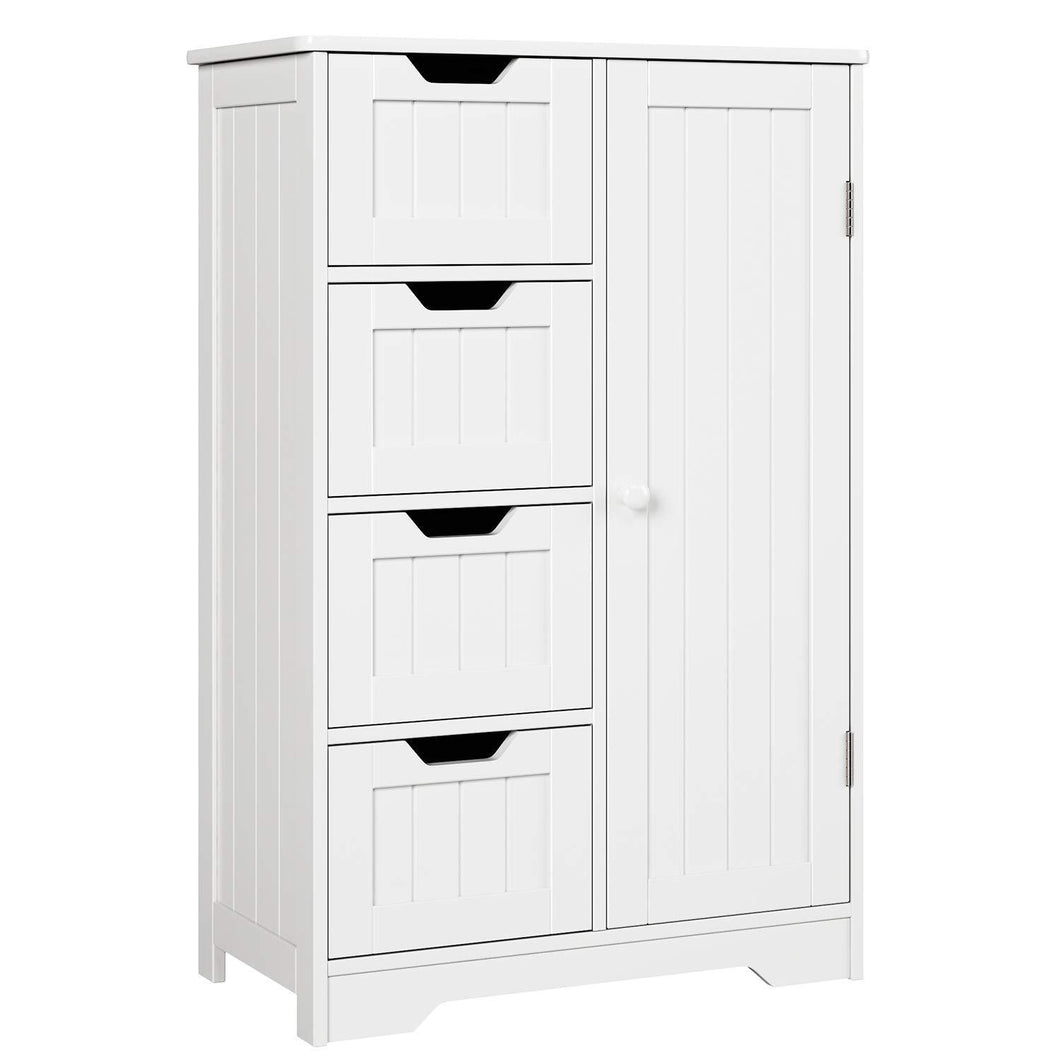 Featured homfa bathroom floor cabinet wooden side storage organizer cabinet with 4 drawer and 1 cupboard freestanding unit for better homes and gardens offic