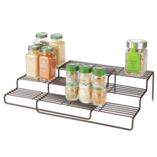 Load image into Gallery viewer, Heavy duty mdesign adjustable expandable kitchen wire metal storage cabinet cupboard food pantry shelf organizer spice bottle rack holder 3 level storage up to 19 5 wide bronze