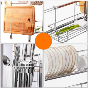 TLMY Stainless Steel Dish Rack Sink Drain Rack Kitchen Racks Shelf