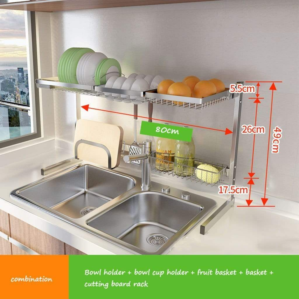 Shelf Liners Kitchen Shelf Stainless Steel Dish Rack Sink Rack Kitchen Homeware Storage Rack Pool Shelf Dish Rack Storage & Organization (Color : Silver, Size : 8049cm)