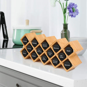 Amazon criss cross 18 jar bamboo countertop spice rack organizer kitchen cabinet cupboard wall mount door spice storage fit for round and square spice bottles free standing for counter cabinet or drawers
