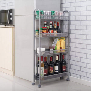 Best seller  dalilylime 4 tier removable storage cart gap kitchen slim slide out storage tower rack with wheels cupboard with casters silver 4 layers 420s