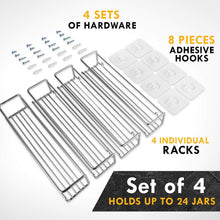Load image into Gallery viewer, Save spice rack organizer for cabinet door mount or wall mounted set of 4 chrome tiered hanging shelf for spice jars storage in cupboard kitchen or pantry display bottles on shelves in cabinets