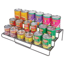 Load image into Gallery viewer, Purchase mdesign adjustable expandable kitchen wire metal storage cabinet cupboard food pantry shelf organizer spice bottle rack holder 3 level storage up to 25 wide 2 pack graphite gray