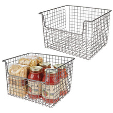 Load image into Gallery viewer, Order now mdesign metal kitchen pantry food storage organizer basket farmhouse grid design with open front for cabinets cupboards shelves holds potatoes onions fruit 12 wide 2 pack graphite gray