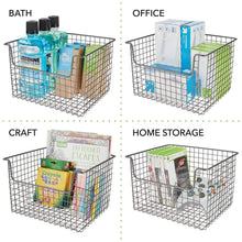Load image into Gallery viewer, Purchase mdesign metal kitchen pantry food storage organizer basket farmhouse grid design with open front for cabinets cupboards shelves holds potatoes onions fruit 12 wide 2 pack graphite gray