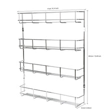 Load image into Gallery viewer, On amazon exzact exerz herb and spice rack 4 tiers kitchen shelf organiser for jars perfect space saving and storage wall mountable or cupboard door fitting fixings included in the package exsr004 4