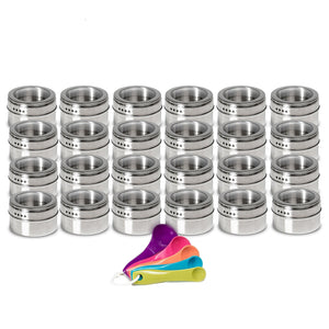 Top nellam stainless steel magnetic spice jars bonus measuring spoon set airtight kitchen storage containers stack on fridge to save counter cupboard space 24pc organizers