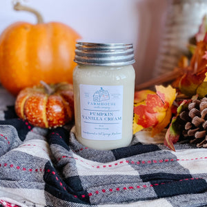 Pumpkin Vanilla Cream 16 oz Mason Jar candle