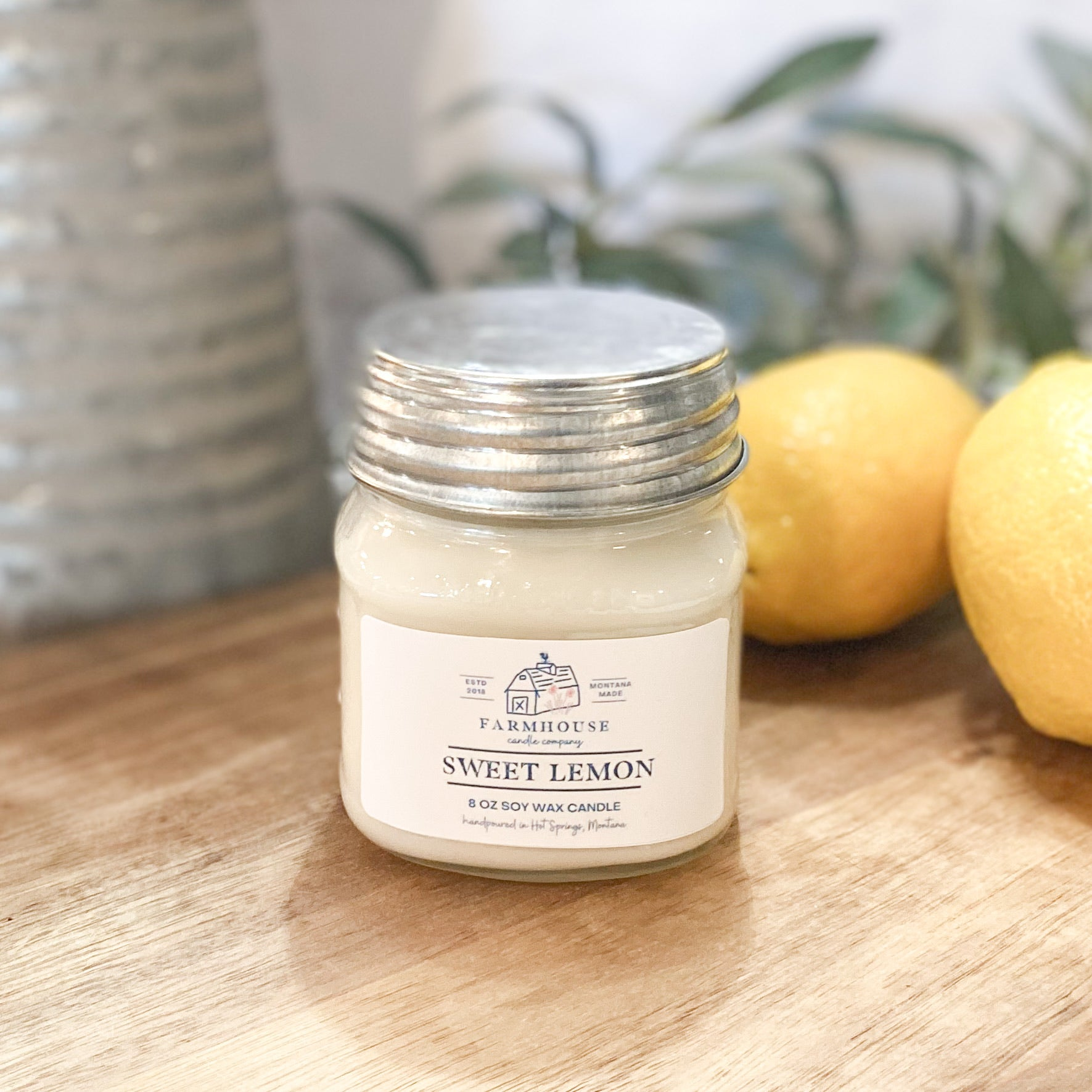 Sweet Lemon 8 oz Mason Jar candle