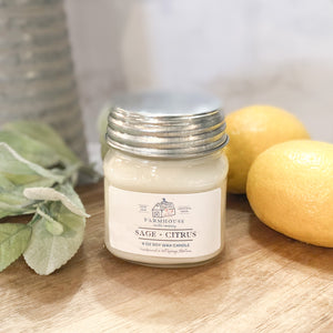 Sage + Citrus 8 oz Mason Jar candle