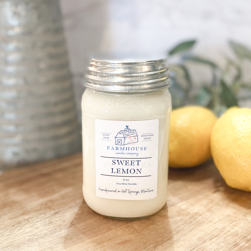 Sweet Lemon 16 oz Mason Jar candle