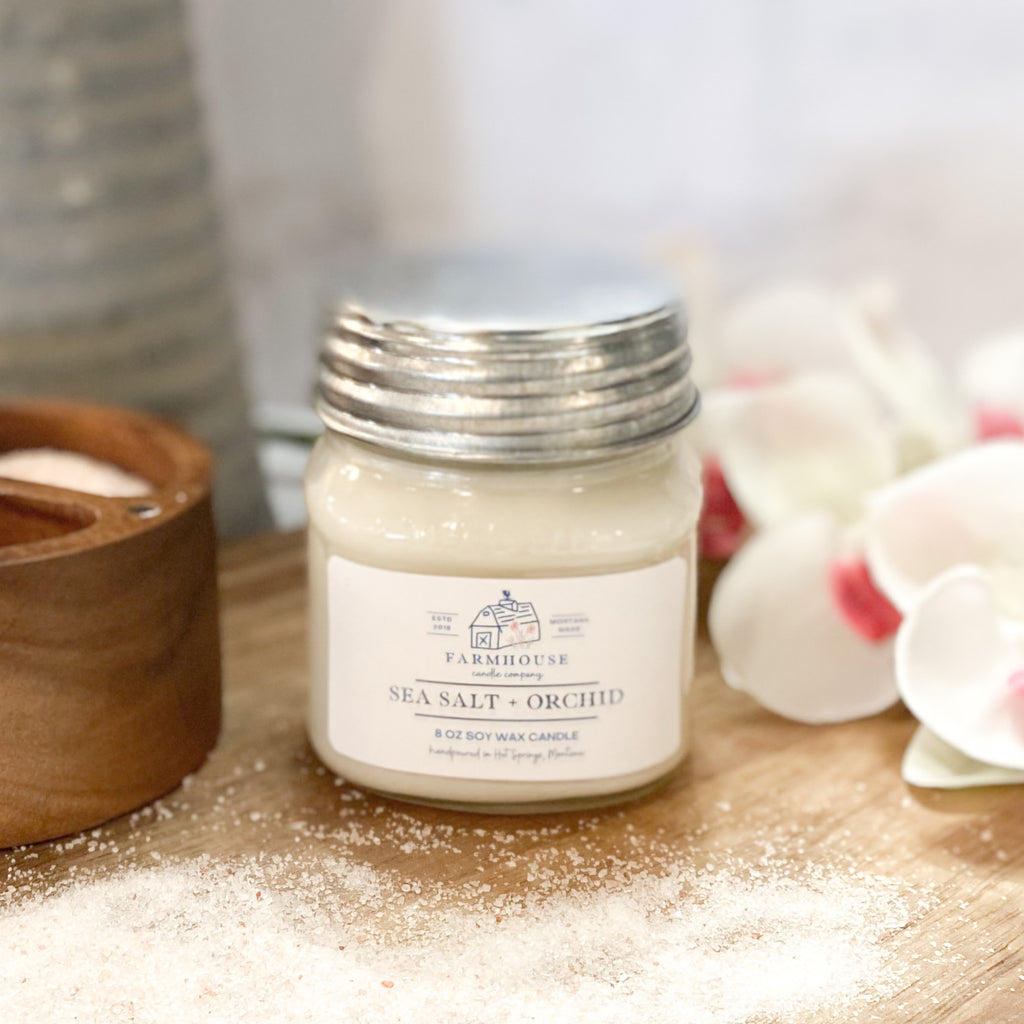 Sea Salt + Orchid 8 oz Mason Jar candle