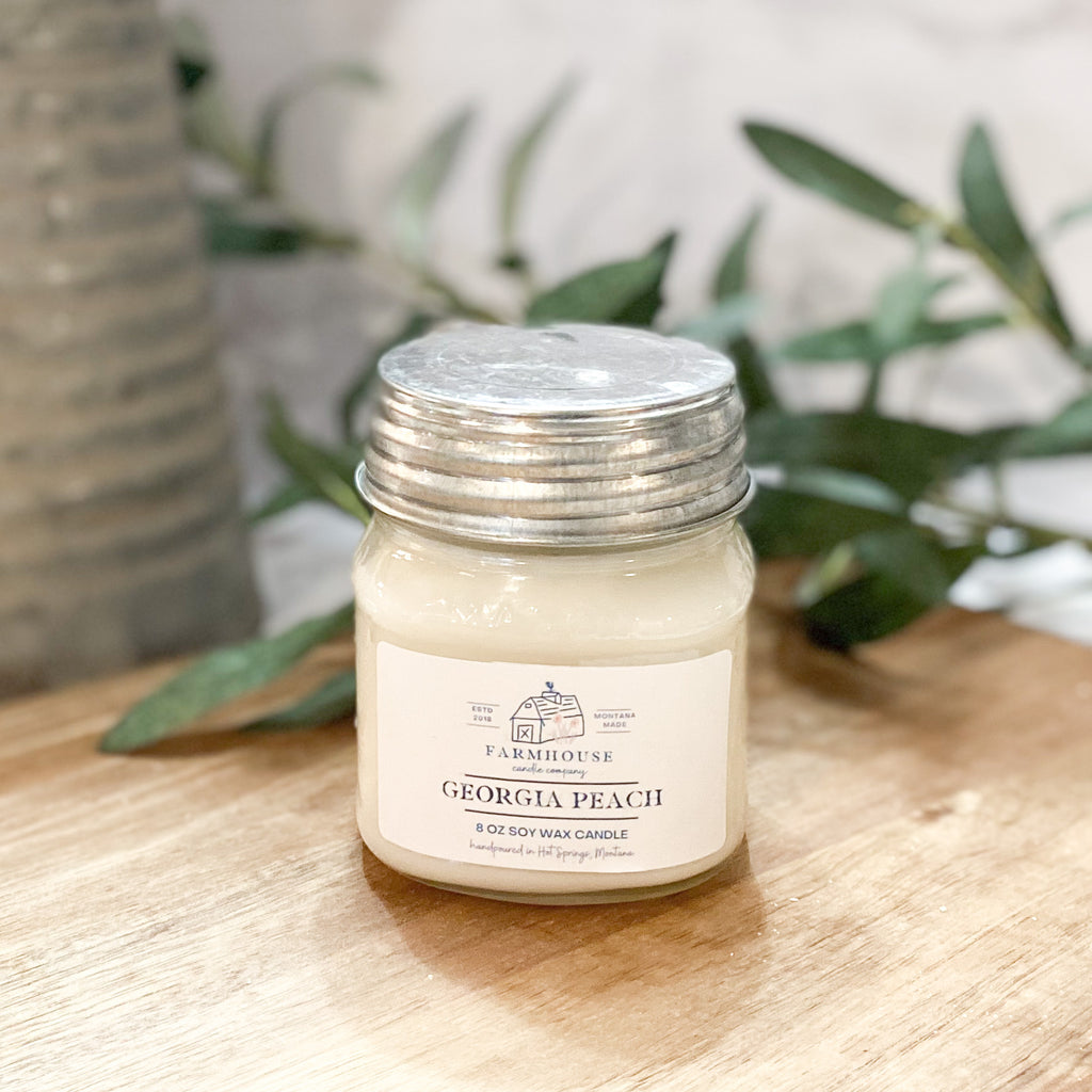 Georgia Peach 8 oz Mason Jar candle