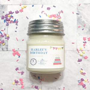 HARLEE's BIRTHDAY 8 oz Mason Jar candle