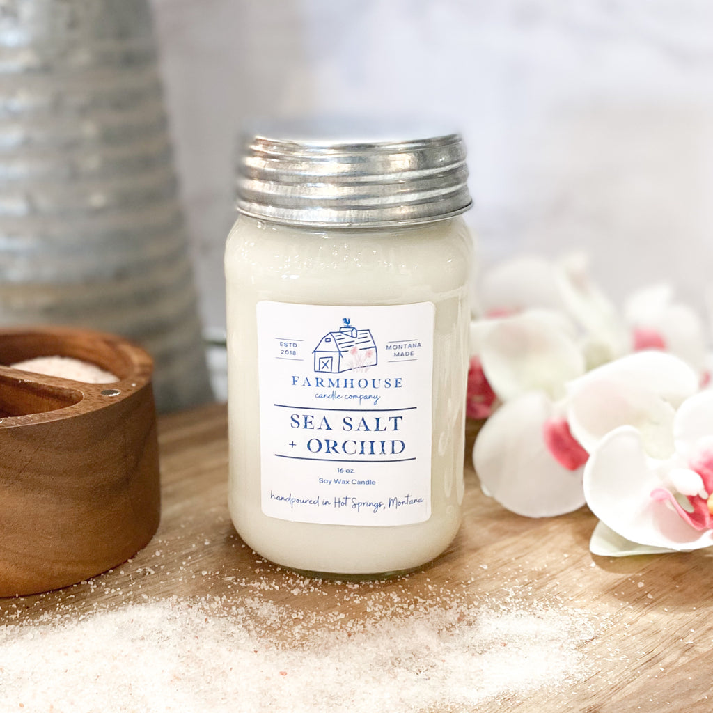 Sea Salt + Orchid 16 oz Mason Jar candle