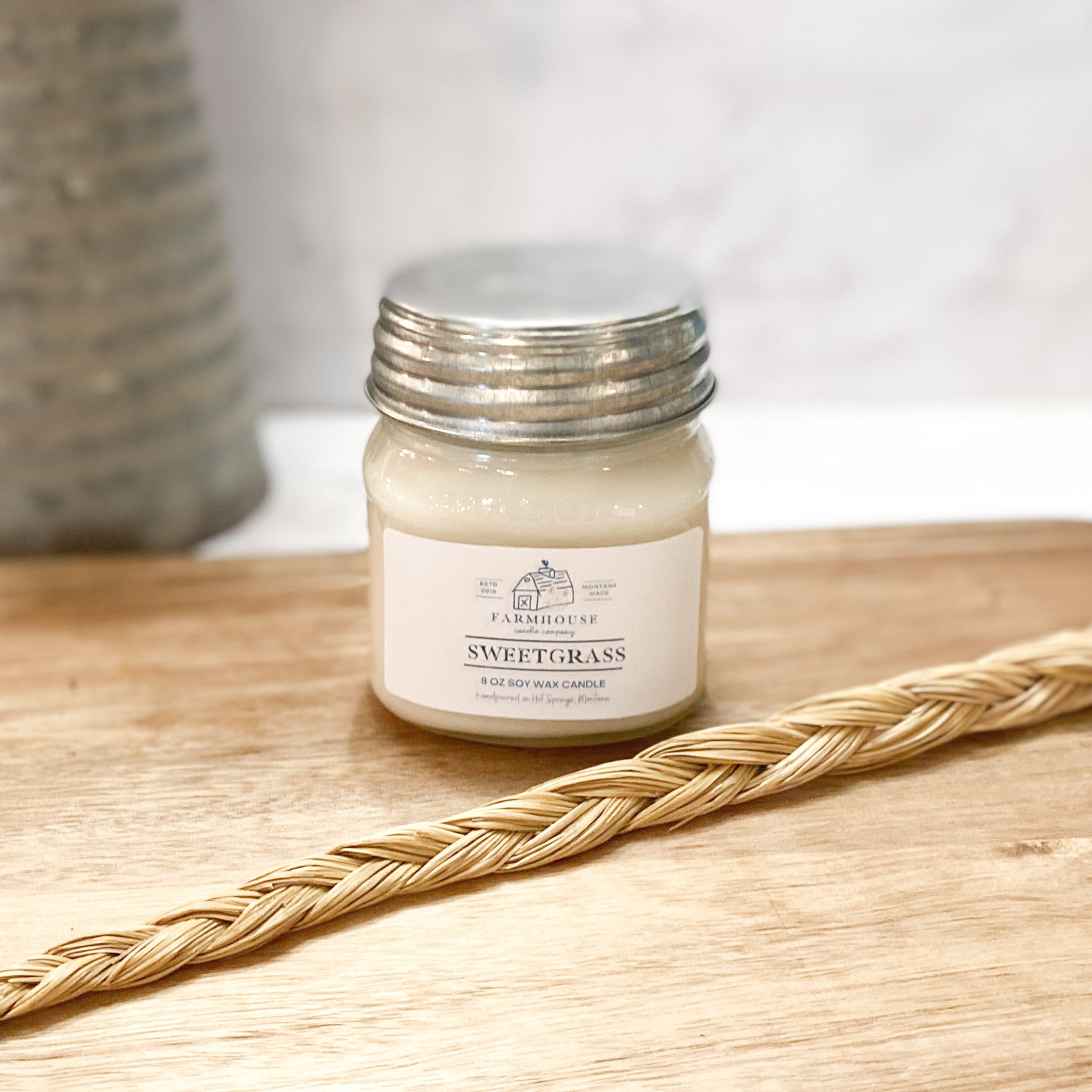 Sweetgrass 8 oz Mason Jar candle