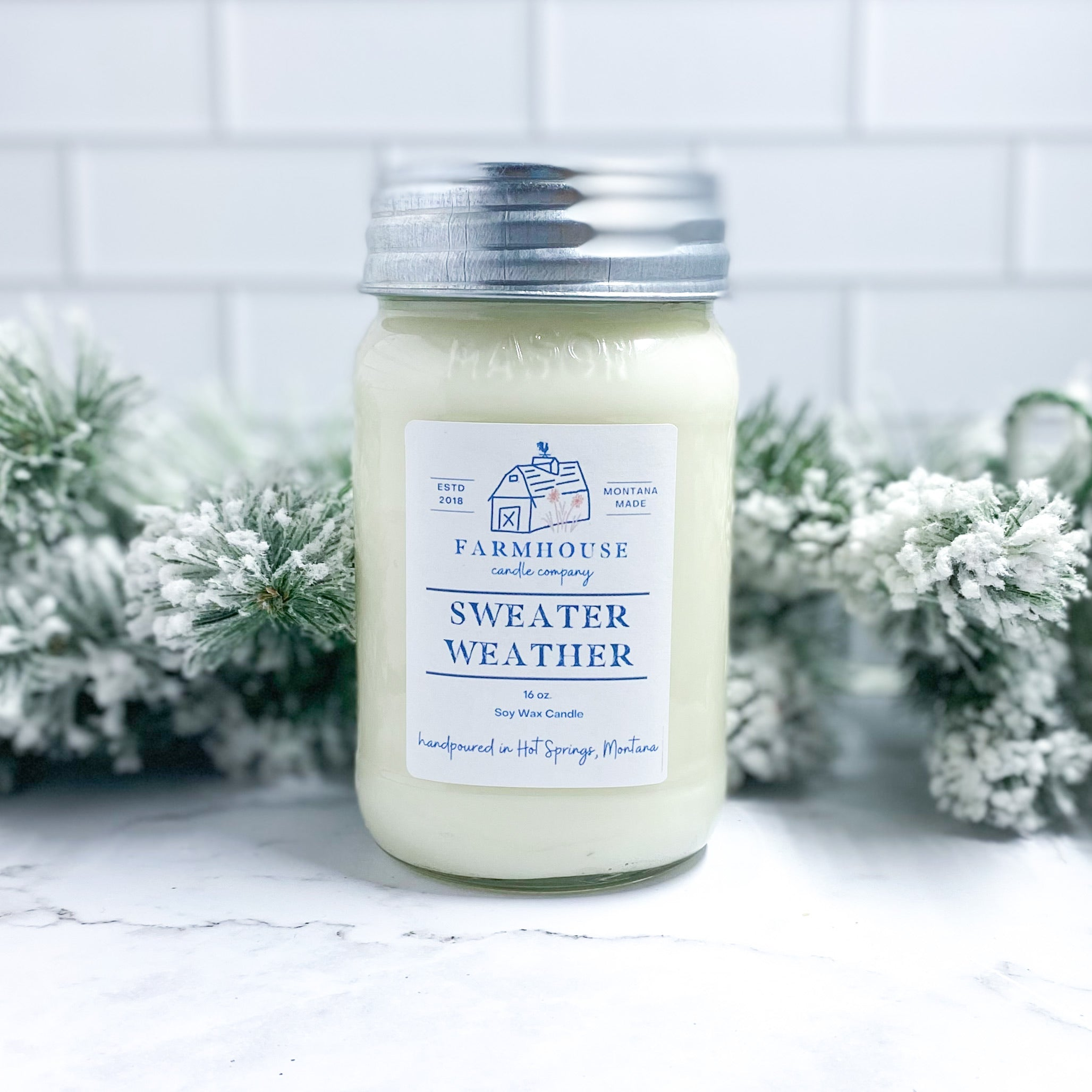Sweater Weather 16 oz Mason Jar candle