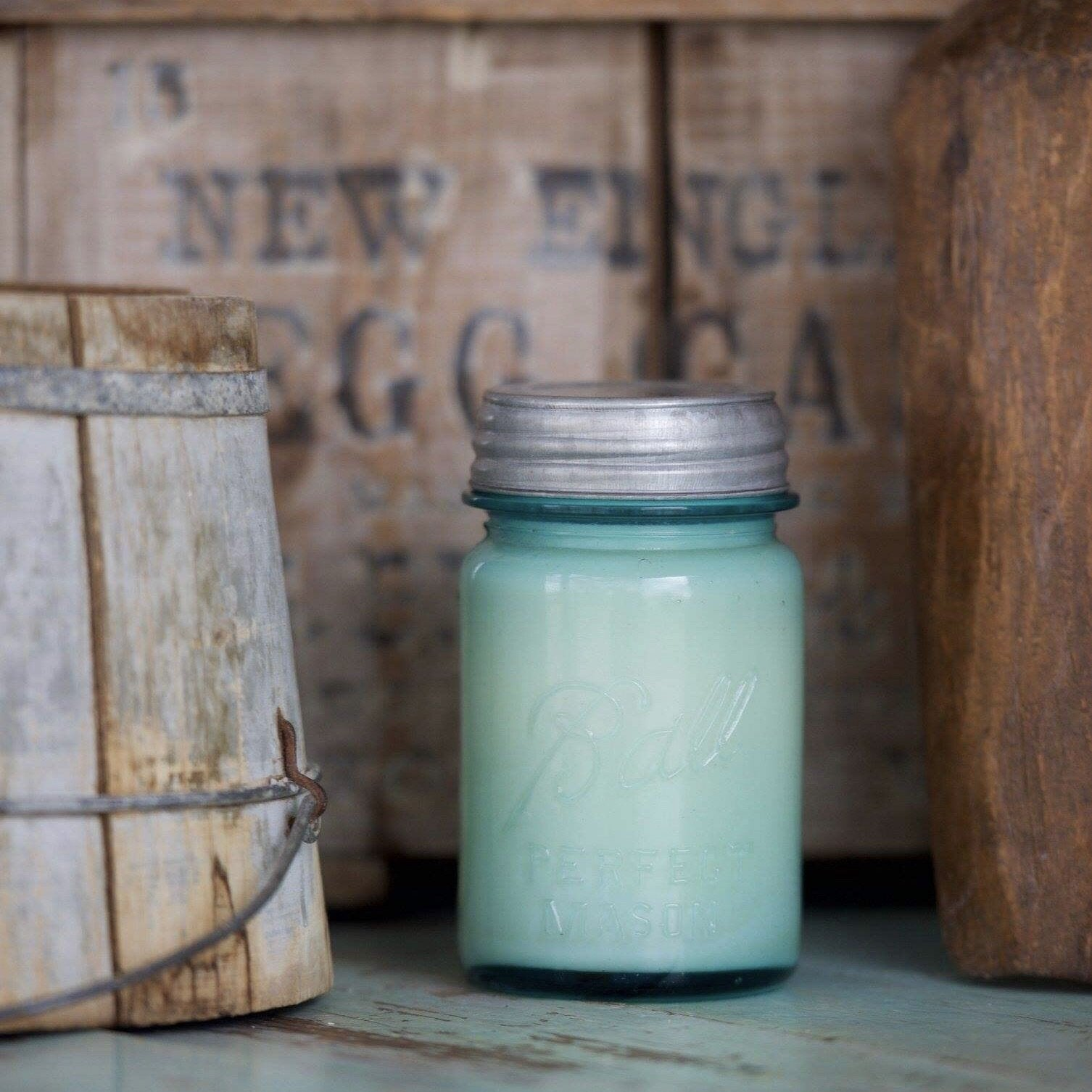 Vintage Blue Ball Farmhouse Candle