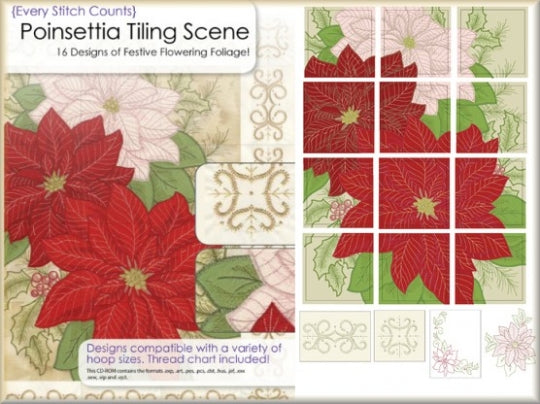 Poinsettia Machine Embroidery Designs CD