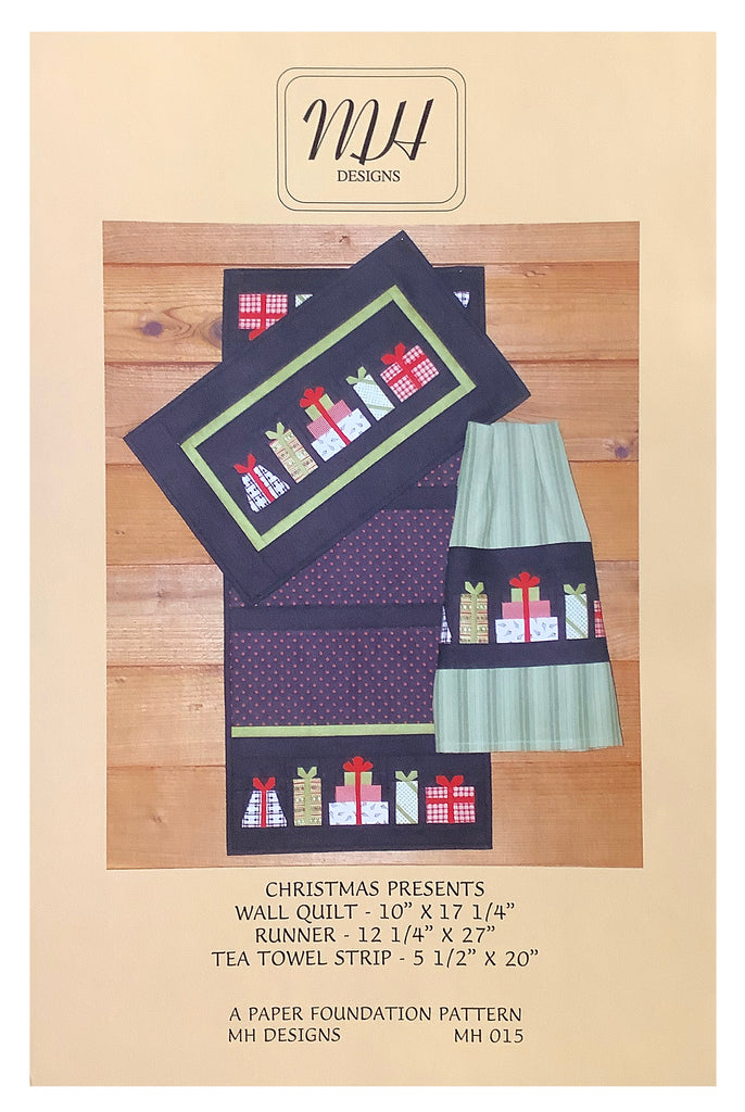 """Christmas Presents"" Runner, Wall Quilt & Towel Pattern"