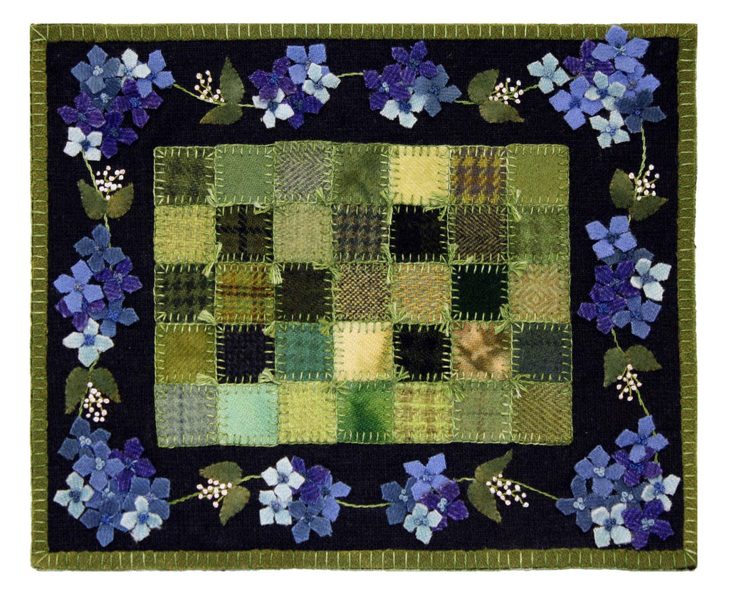 Little Granny Quilt Garden Blue Wool Kit