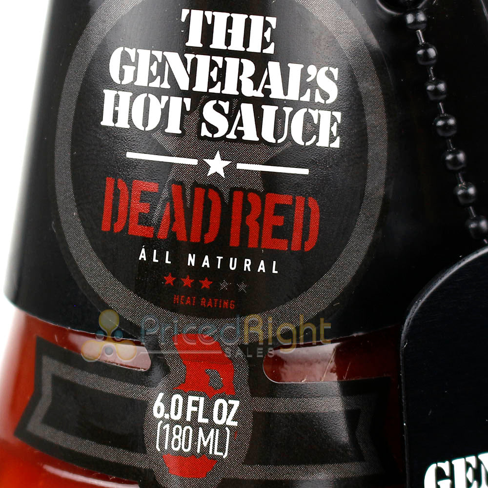 The Generals Hot Sauce Dead Red 6 Oz. All Natural Cayenne Heat Flavor 00010