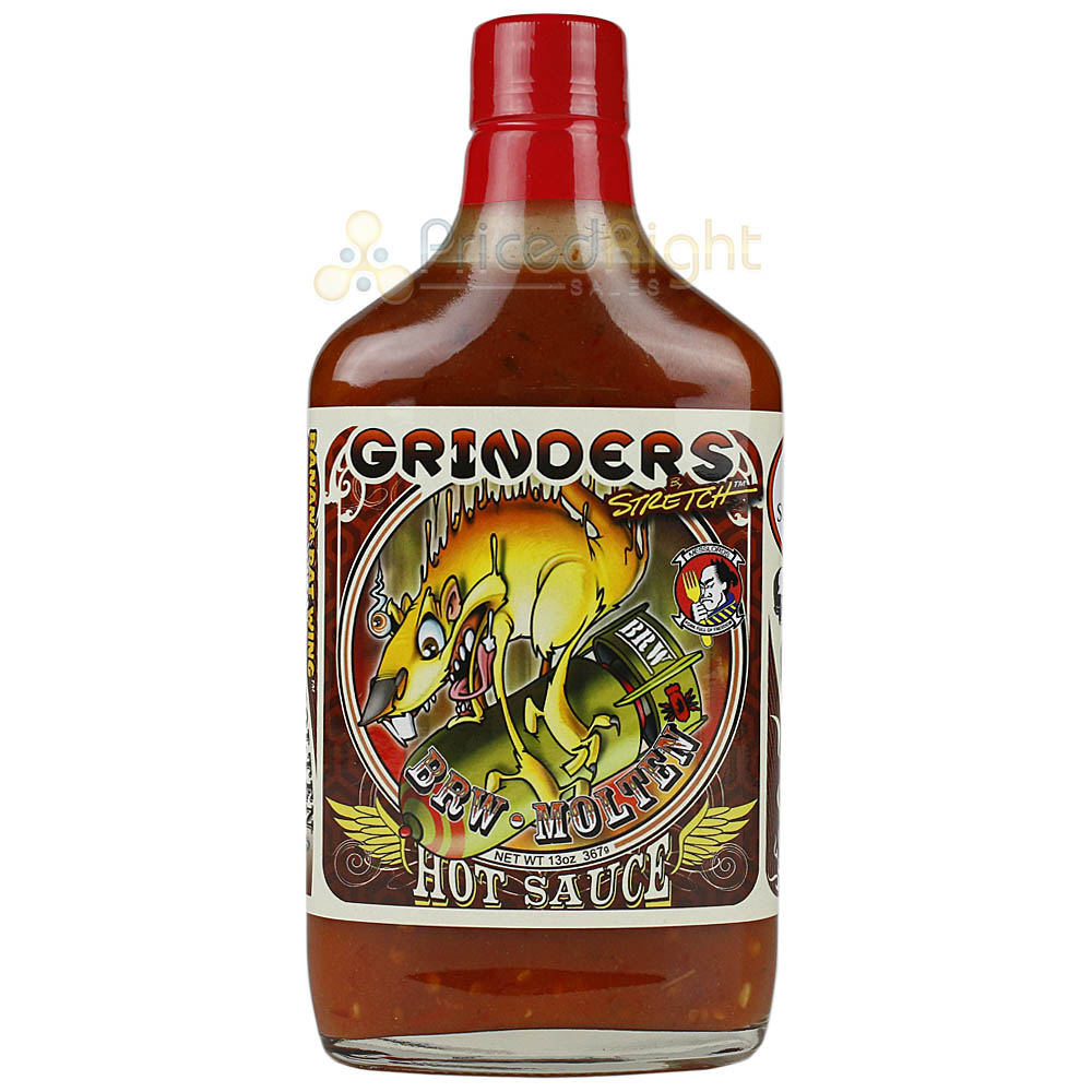 Grinders BRW Molten Hot Sauce 13 oz. Bottle Mango & Habanero Spicy