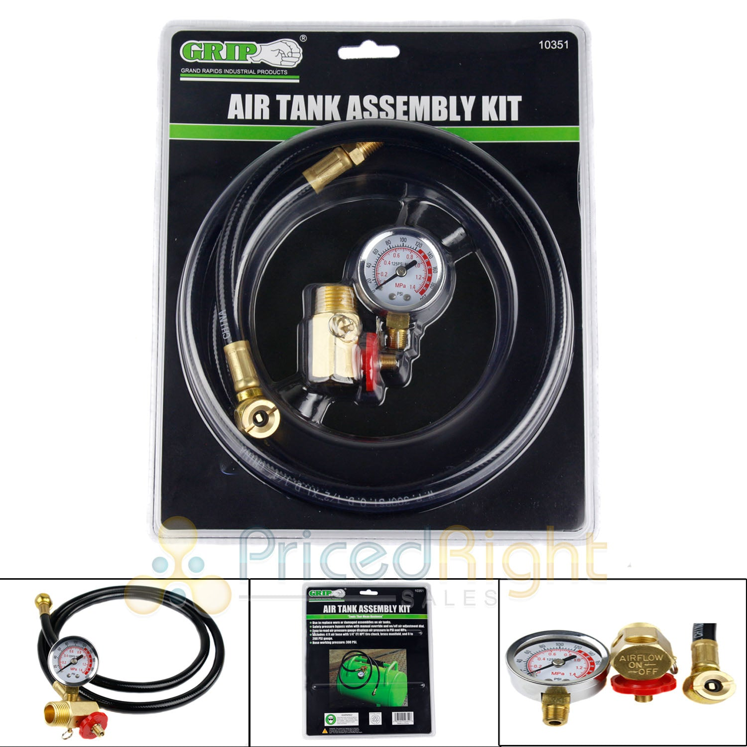 "Air Tank Assembly Kit 4 ft Hose 0-200 PSI Gauge 1/4"" NPT Tire Chuck GRIP 10351"