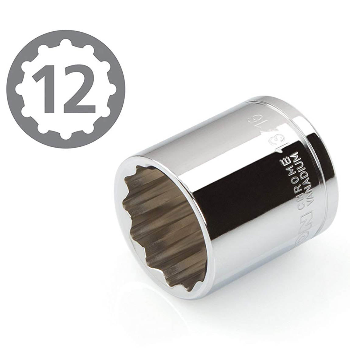 "12 Point 3/8"" Drive 13/16"" Shallow Socket Premium Vanadium Steel Tekton 14161"