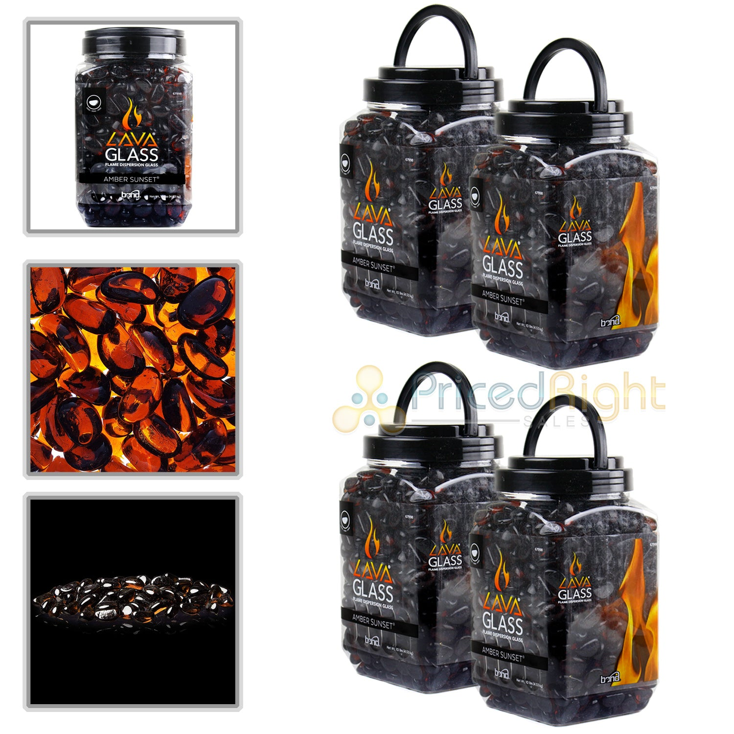 4 Pack Amber Sunset Mini Cut LavaGlass Firepit Dispersion Glass 40lbs Fireplace