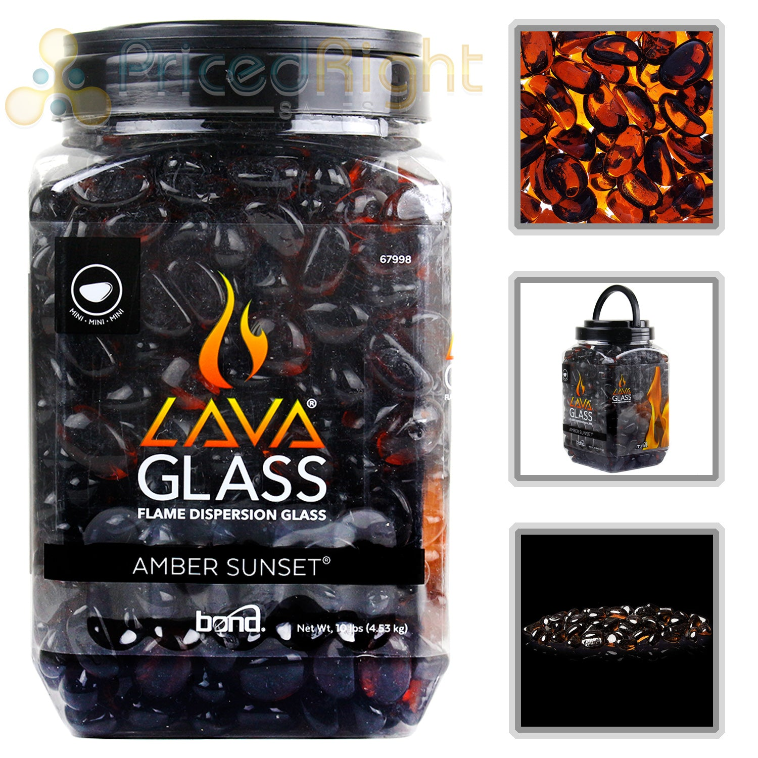 Gas Fireplace Amber Sunset Mini LavaGlass Firepit Dispersion Glass 10 lbs 67998