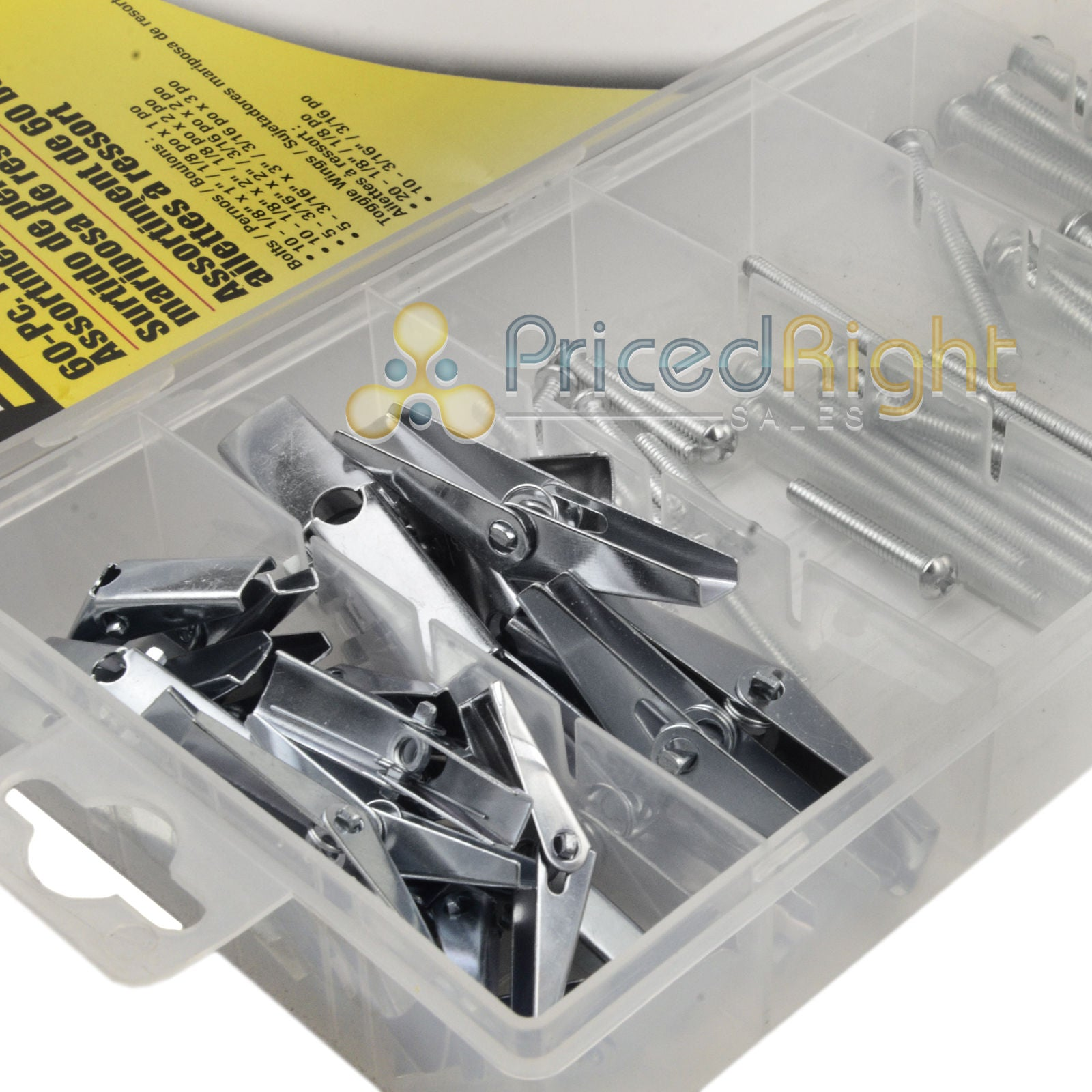 60 Piece Pc Toggle Wing and Bolt Assortment Set Kit Maxcraft 7698