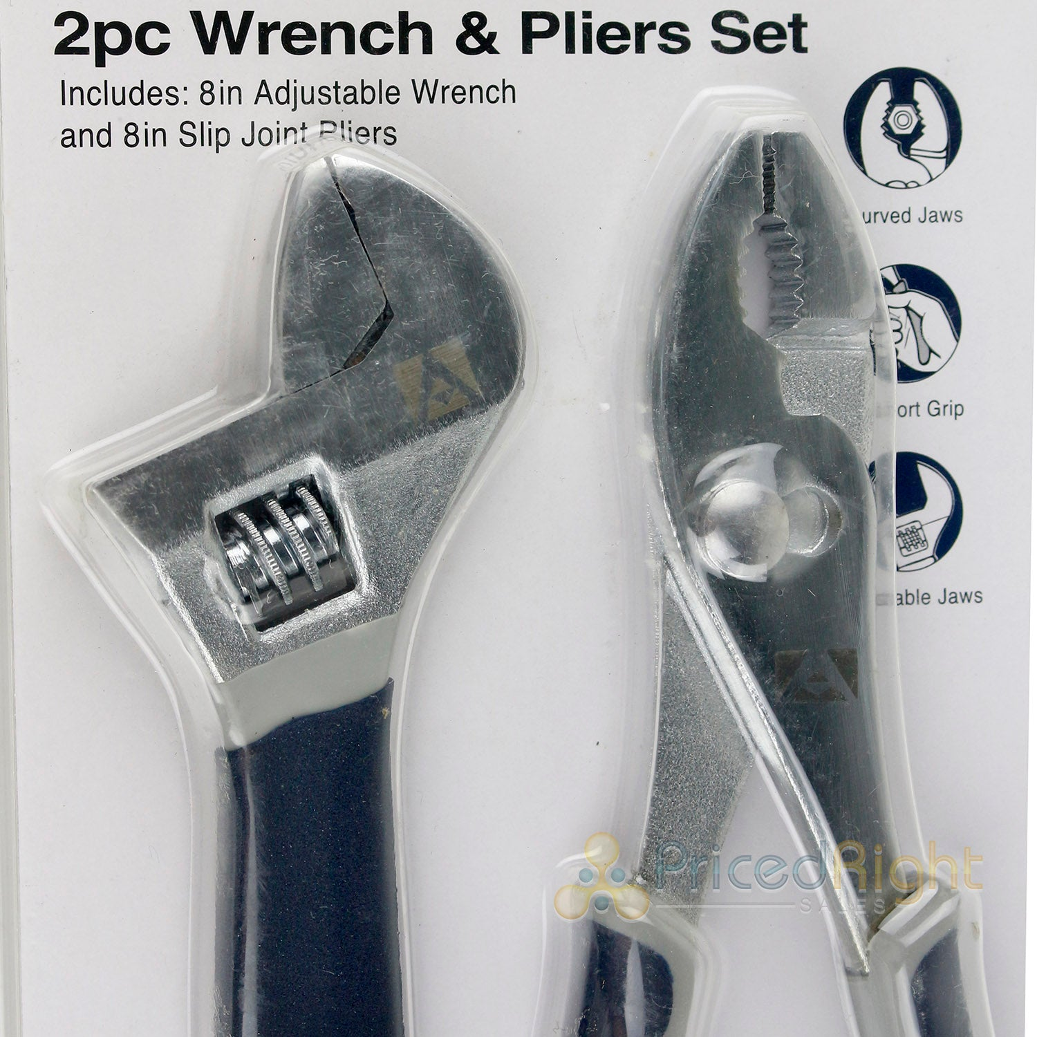 "Allied Tools 2 Piece 8"" inch Slip Joint Pliers and Adjustable Wrench Set 90003"