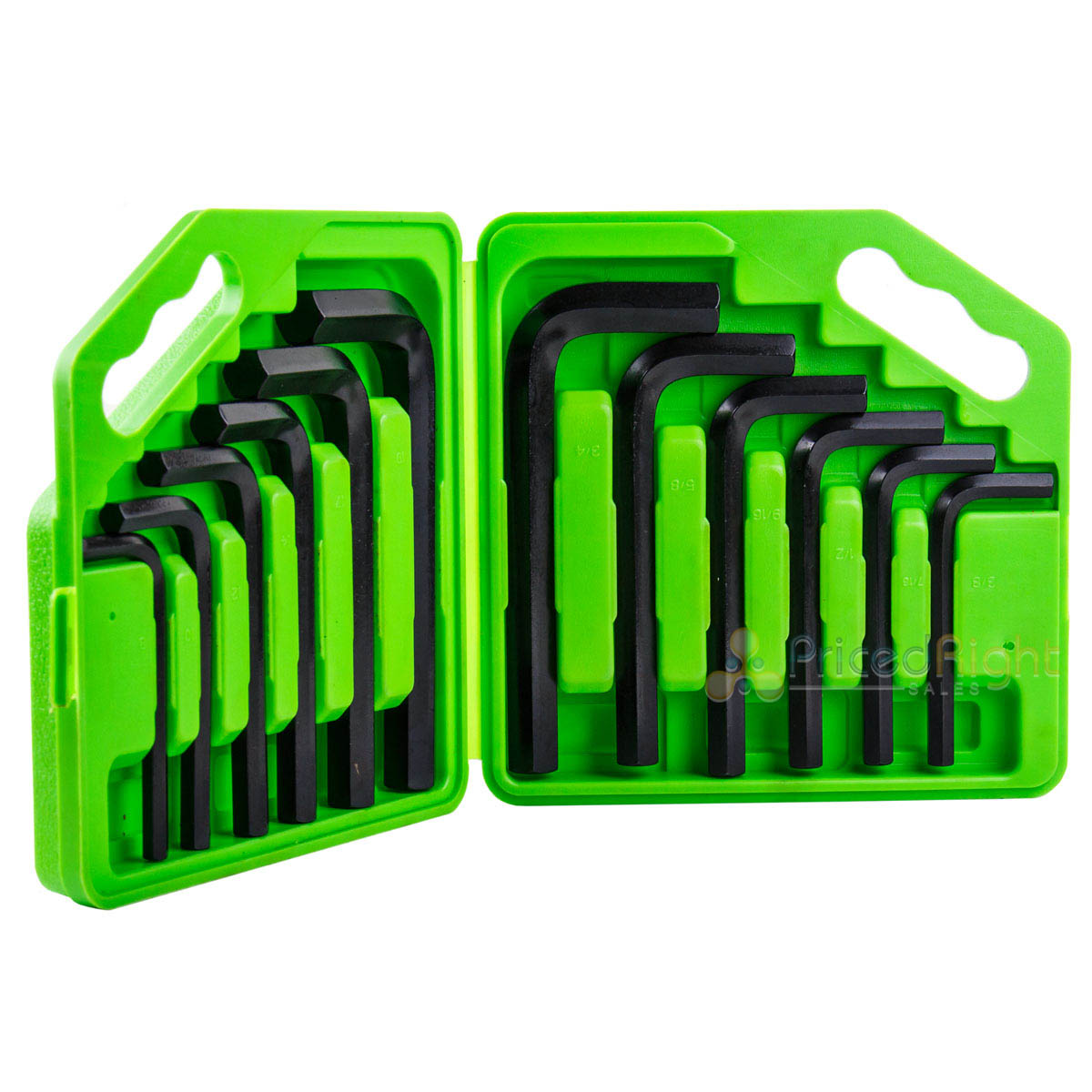 12 PC Piece Jumbo Hex Allen Key Wrench Set w/ Case Metric SAE Heat Treated Steel