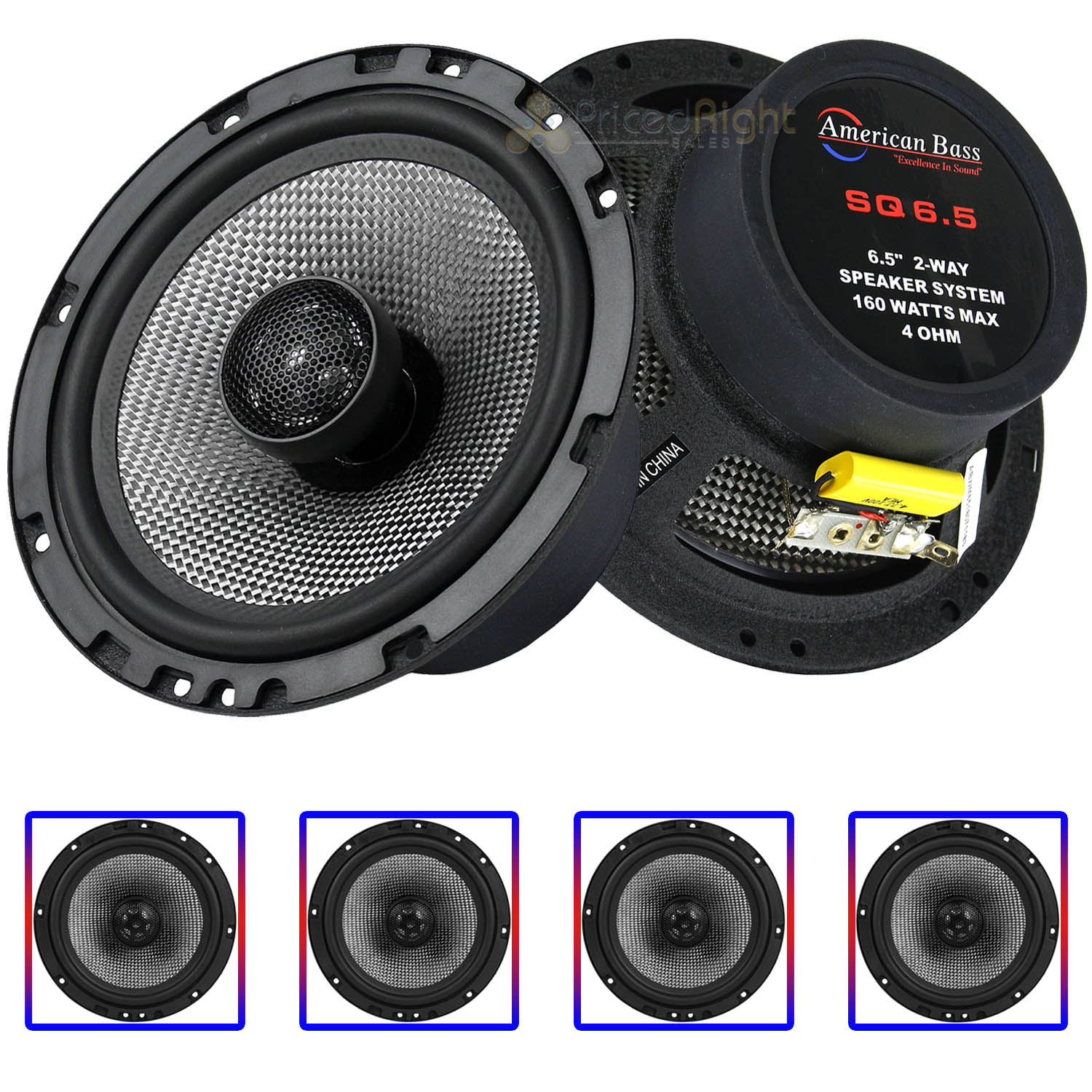 "4 Pack 6.5"" 2-Way Coaxial Car Audio Speakers 160W Max Grills American Bass SQ6.5"