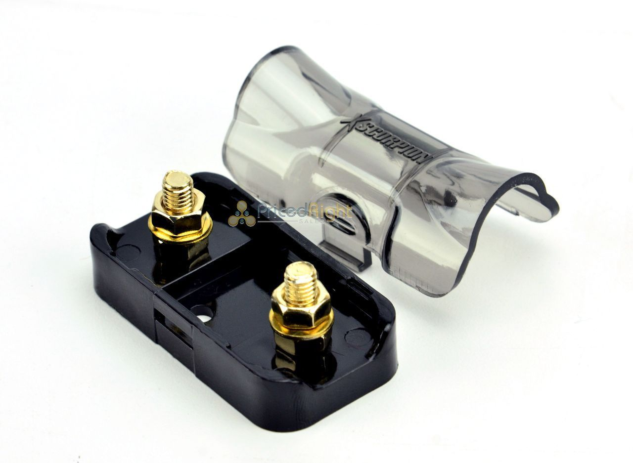 Mini ANL Fuse Holder Inline 4 8 Gauge Input Output Xscorpion AMA48G Gold Finish