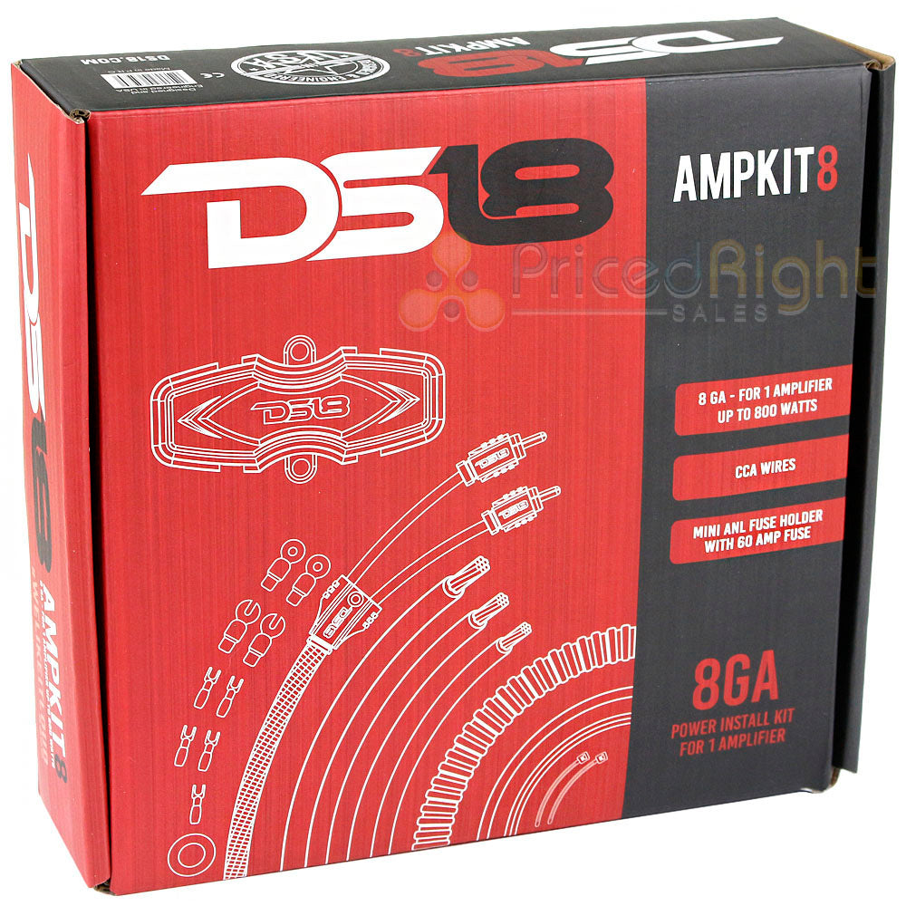 DS18 8 Gauge Power Install Kit High Performance Amplifier Wiring Cables AMPKIT8
